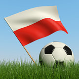 Soccer ball in the grass and flag of Poland.
