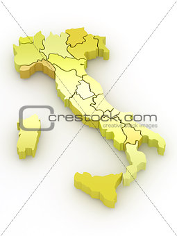 Three-dimensional map of Italy. 3d