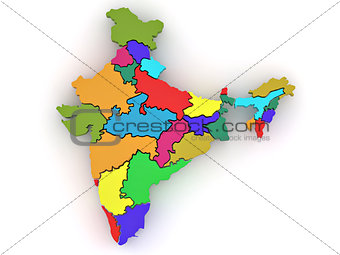 Three-dimensional map of India on white isolated background