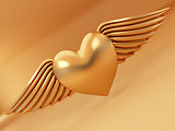 Heart and wings on yellow background