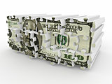 Puzzle from dollar on white isolated background