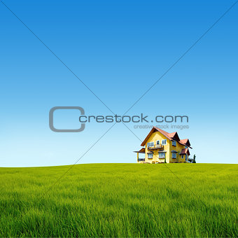 Meadow hill with yellow house