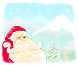 Christmas scene with Santa  and winter landscape