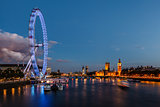 London Skyline with Westminster Bridge and Big Ben in the Evenin