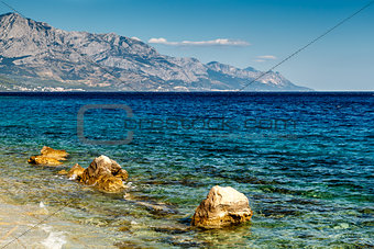 Beautiful Adriatic Beach near Split and Biokovo Mountains in Bac