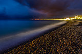 Romantic Cote d'Azure Beach at Night, Nice, French Riviera, Fran