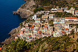 Traditional Village of Riomaggiore in Cinque Terre, Italy