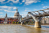 Millennium Bridge and Saint Paul's Cathedral in London, United K