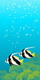 Two striped coral fishes under water