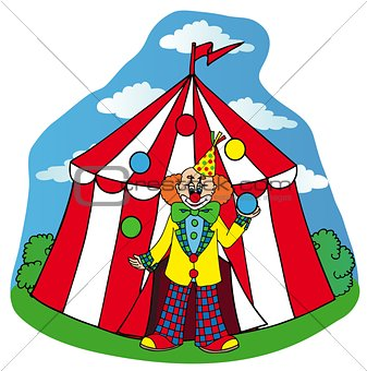 Circus tent with clown