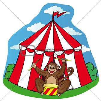Circus tent with monkey