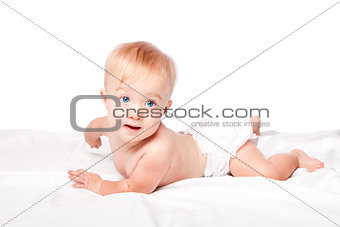 Cute baby laying on belly