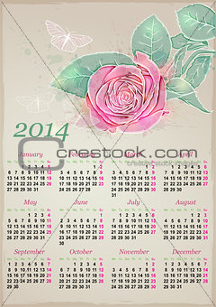 Calendar for 2014 with rose