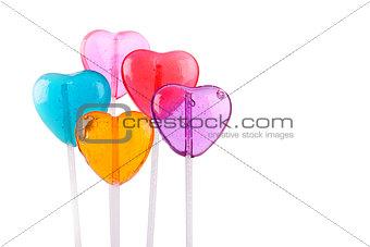 Five Color Heart Lollipops