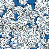 Abstract blue floral seamless pattern