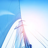 Sail on blue sky backdrop