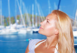 Woman on yacht port