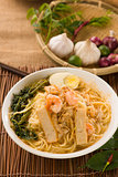 Prawn mee, prawn noodles. Famous Malaysian food spicy fresh cook