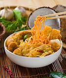 singapore curry noodle with backgrounds