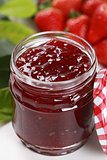 Strawberry marmalade in a jar