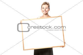 Beautiful woman with blank board