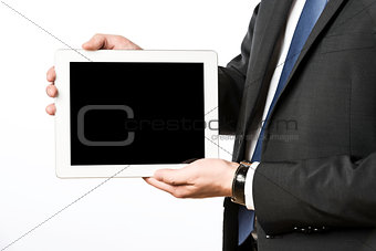 Business man with blank tablet computer