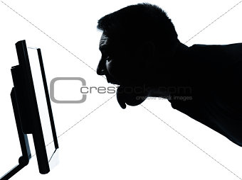 one business man face silhouette with computer screen display to