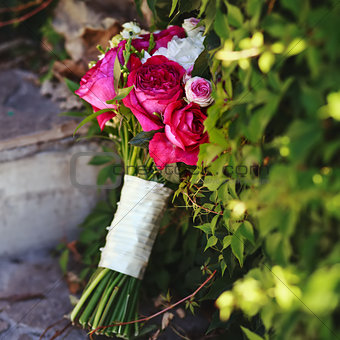 bridal bouquet made of peonies