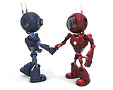 androids shaking hands