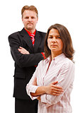Man woman couple standing with folded arms