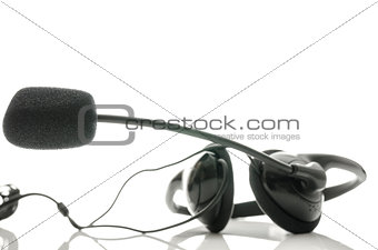 Black headphones with microphone