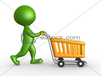 3d man with a shopping car