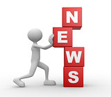 3d man with cubes and word NEWS
