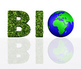 front view of bio word with the world