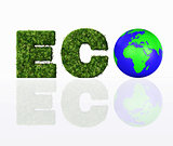 front view of eco word with the world