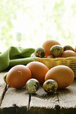 organic fresh eggs on a wooden table