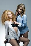 sexy portrait of two fashion girls