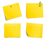 Vector yellow notice stickers on white background