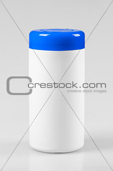 White plastic container with a blue lid
