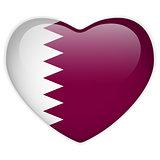 Qatar Flag Heart Glossy Button