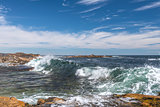 Ocean Waves Crashing Into Rocky Shore