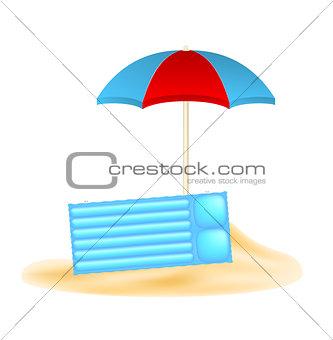 Beach concept with beach umbrella and air mattress in sand