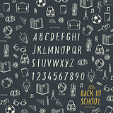 Schools hands draw chalk written font, vector Eps10 image.