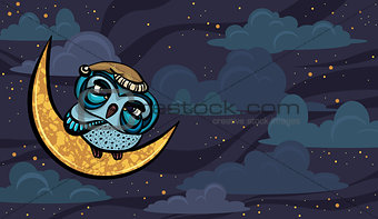 Cartoon sleepy owl and yellow moon