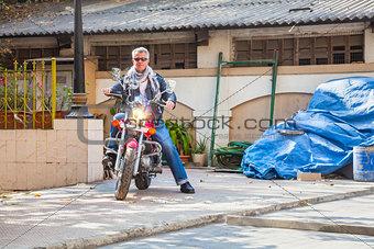 Rider motorbike industrial trendy red  bike