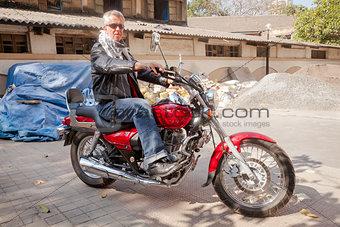 Caucasian Motorbike on a cruiser Bombay India