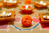 Hindu marigold new year divali rangoli