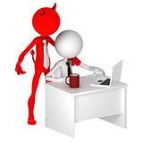 Devil standing behind office worker