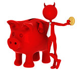 Devil with piggybank.