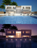 Modern villa day and night view
